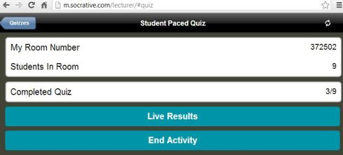 Socrative screen shot