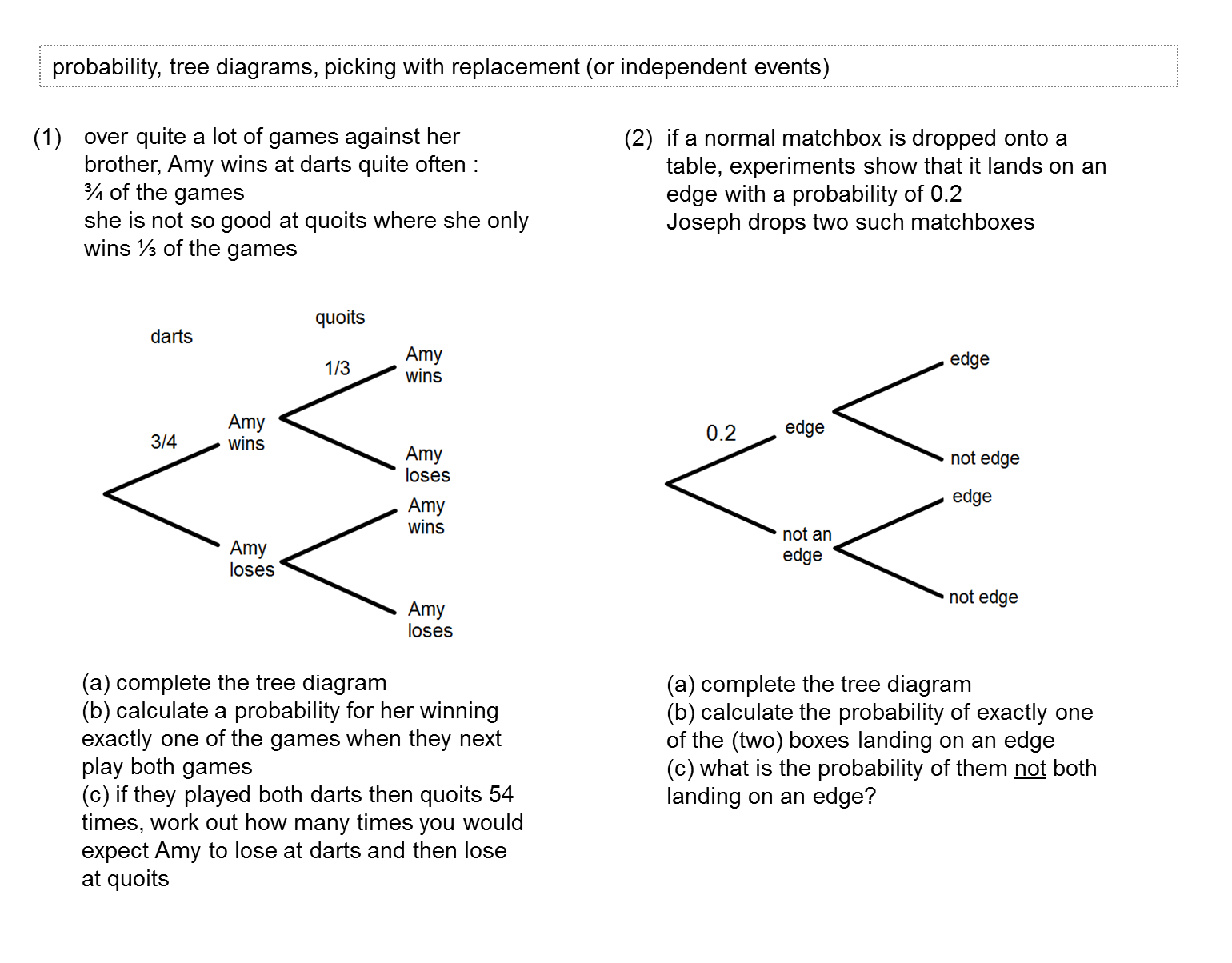 Tree Diagrams Worksheet 2 tree diagrams worksheet 2 and Diilz – Tree Diagrams Worksheet